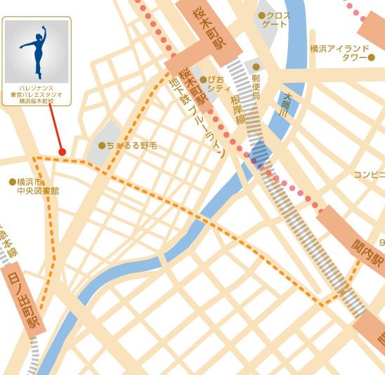 桜木町駅、関内駅、日ノ出町駅が利用可能なバレエ教室交通地図